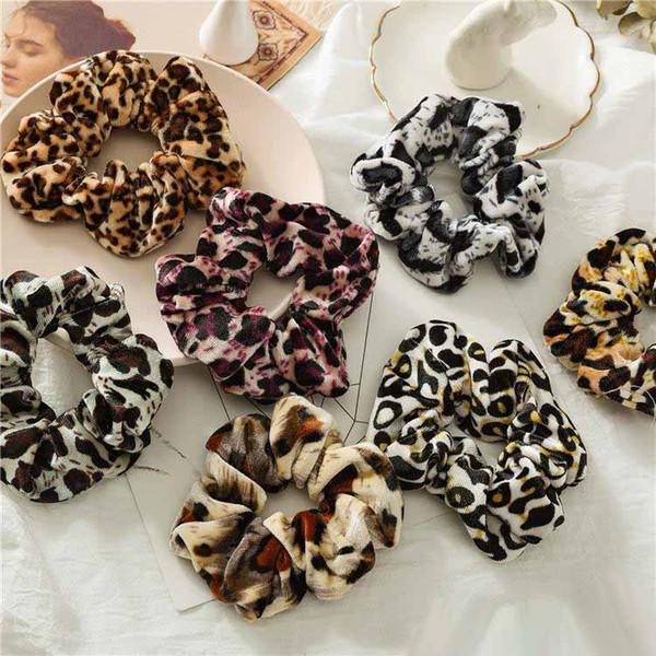 Women Girls Leopard Velvet Elastic Ring Hair Ties Accessories Ponytail Holder polka dot Hairbands Rubber Band Scrunchies