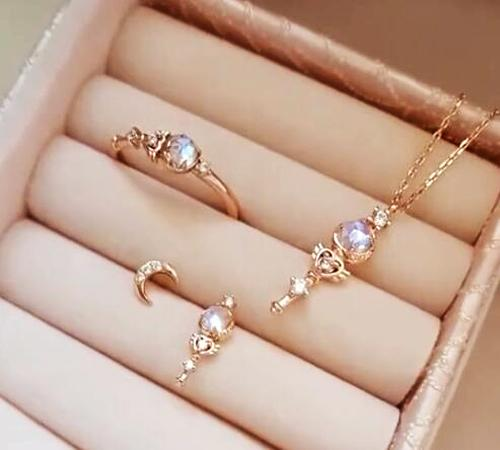 Anime Sailor Moon Chibi S925 Silver Chains Necklace Moonstone Rose Gold Pendant Necklaces Stud Earrings Ring Jewelry Set Gift