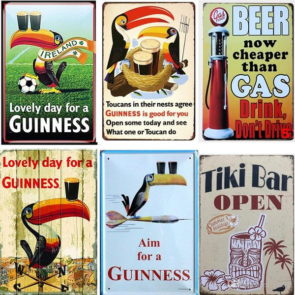 Guinness Plaque Vintage Metal Tin Signs Bar Pub Decorative Plates VODKA Wall Stickers Corona Iron Poster Beer Advertising Sign 20*30cm