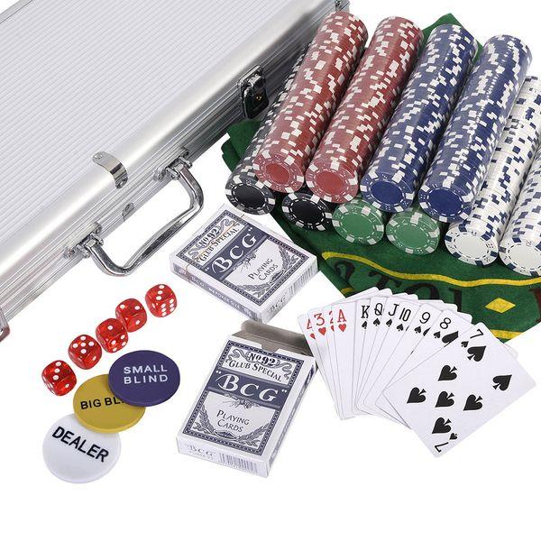 New Portable 500 Chips Poker Dice Chip Set Texas Poker Cards Aluminum Case