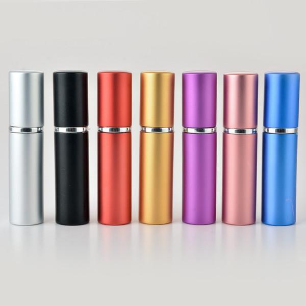 Parfümflasche 5ml Nachfüllbar Parfümzerstäuber Spray Leeres Glas Aluminium Kunststoff Reise Make-Up Container Schwarz Silber Blau Rosa Rot Farbe