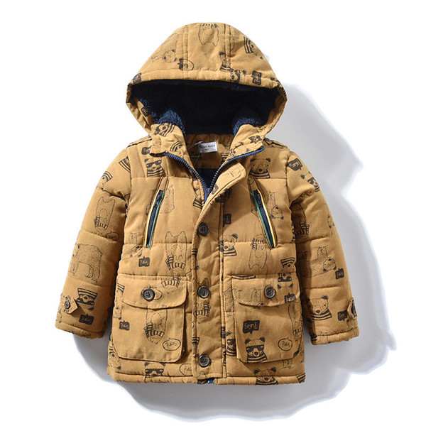 Baby Boys Winter Coat with Bear Print Comic Brand Hooded Parka Warm Children Outerwear Kids Long Jacket for 1 2 3 4 5 years