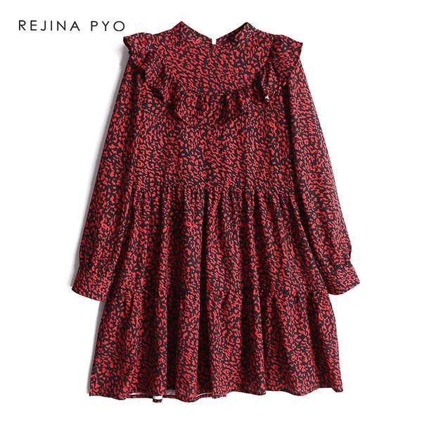 REJINAPYO Kadınlar Vintage Kırmızı Leopar Baskı A-line Elbise Standı Yaka Kadın Moda Yüksek Bel Elbise Parti Ruffles