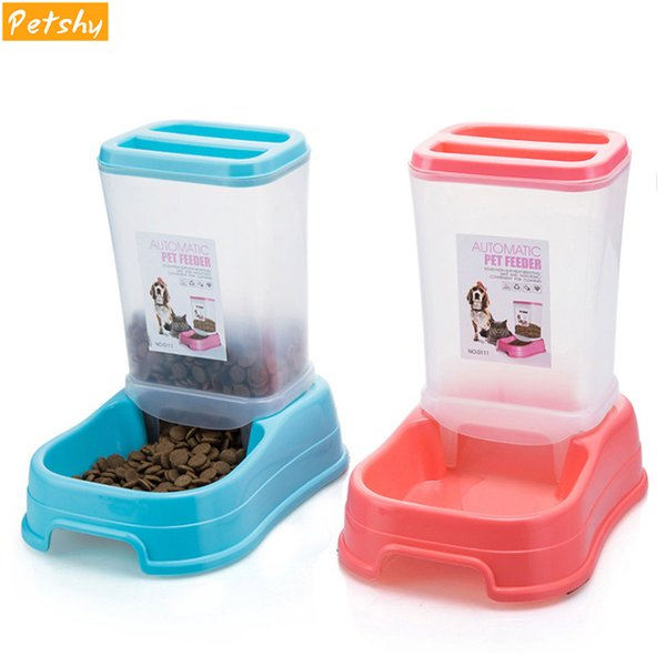 petshy pet automatic feeder dog cat bowl removable plastic kitten puppy feeding dish dispensers for small medium cats dogs