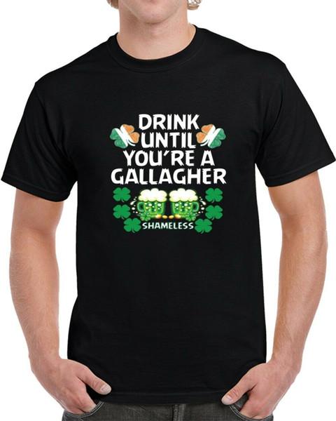 Buvez jusqu'à ce que vous soyez un T-shirt sans scrupule de St Patrick de Gallagher Hommes Femmes Unisexe Mode t-shirt Livraison Gratuite Drôle Cool Top Tee Blanc