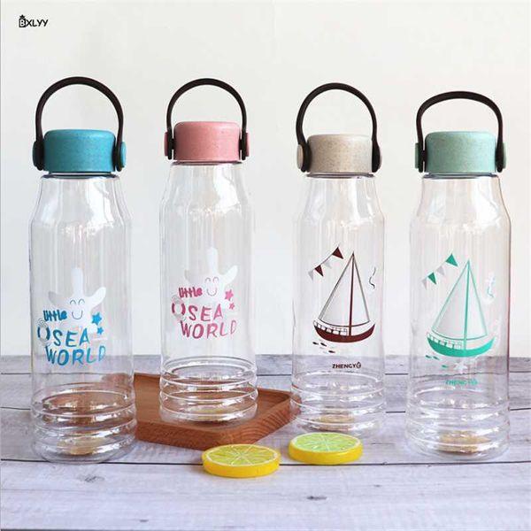 BXLYY New Transparent Plastic Student Water Bottle 600ml Portable Water Bottle Sports Shaker Unicorn Party Decor Bottle.9z