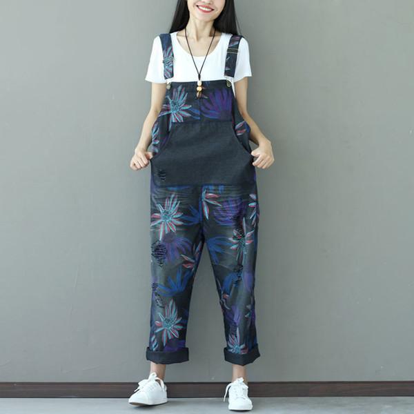 Fashion Casual Holes Denim Jumpsuits Women Loose Vintage Floral Printed Plus Size Overalls Pants Female Rompers Suspenders C981