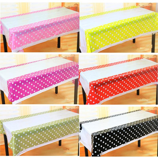 Wholesale-Cheap Polka Dot Plastic Table Cloth Kids Birthday Party Decoration Baby Shower Decoration Supplies Disposable Tablecloth W