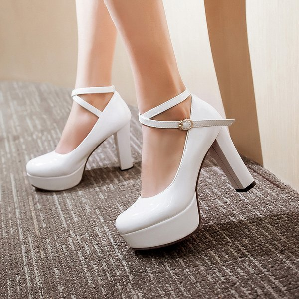 YMECHIC Été Automne 2019 Mode Pourpre Blanc Noir Dames Talons Chaussures De Parti De La Cheville Croix Strap Mary Jane Femmes Pompes Plateformes