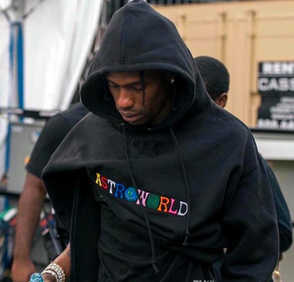 2019 AW18 Marca New Kanye West Astroworld Moletom Com Capuz de Alta Qualidade Bordado Moletons Pullover Pullovers Hoodies Hip Hop Moletom Com Capuz