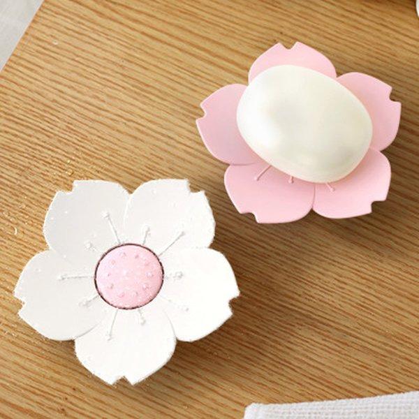 Draining Soap Dish Soap Box Plate Lotus Shape Silicone Box Holder Portable Soap Dishes