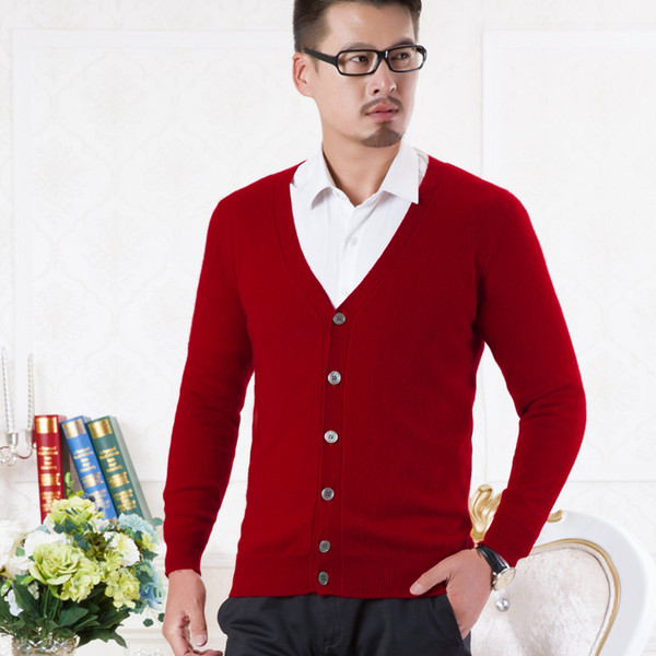 100% pure cashmere knitted sweater man vneck cardigans new fashion cashmere knitwear 6colors standard clothes
