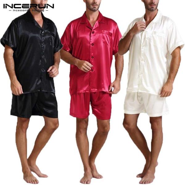 Ensemble de pyjamas pour hommes en satin de soie, Rayon Silk Set Ensemble de tee-shirts, shorts, pyjama pour homme Ensemble de pyjamas doux Hombre Homewear pour hommes MX190724