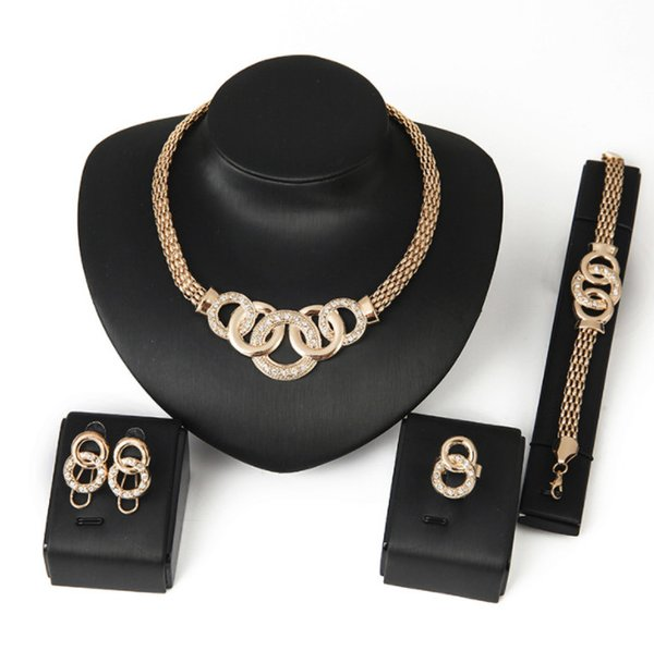 blingbling Luxurious nobility Necklace earrings hand chain ring jewelry package 18K jewelry four-piece quality goods source wholesale