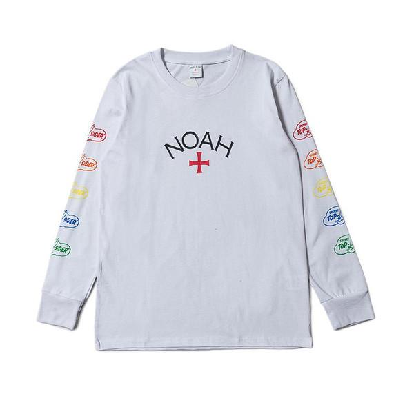 NOAH lungo degli uomini manica e donne amanti Croce congiuntamente Concise bianca girocollo in cotone camicia di modo sweatershirt HFWPWY139