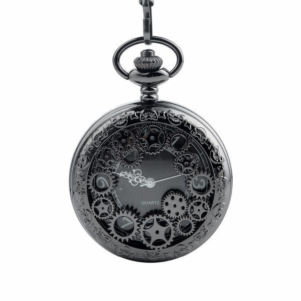 CKKU Jewelry Wonderful Hollow Gears Pocket Watch Quartz Movement Black with 15 Inch Chain for Men Women Gift LPW303