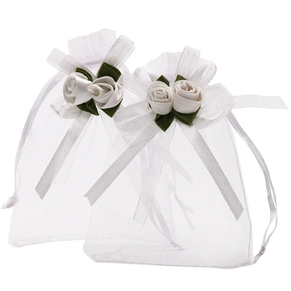 3.9X4.7 Inches Sheer Organza Wedding Favor Gift Bags White Rose Drawstring Pouches, Pack Of 50