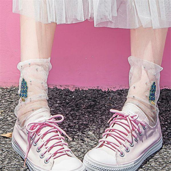 Kadın Yaz Örgü Çorap Bayanlar Şeffaf Şeffaf Çorap Kızlar Rahat Ayak Bileği Çorap Chaussettes Femme Takı Sox
