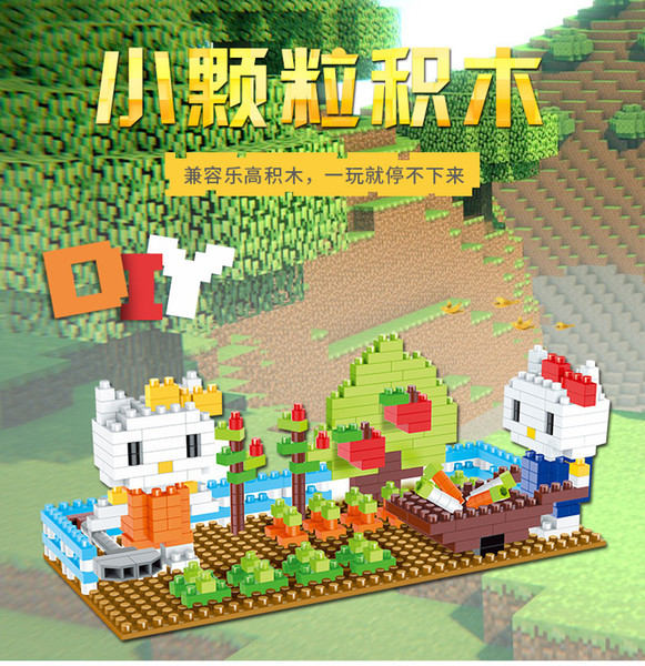 400 piezas de mi grupo de bloques de construcción de pequeñas partículas de diamante del mundo juguetes DIY modelo de dibujos animados de enseñanza para niños