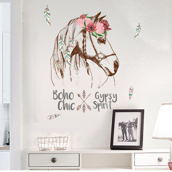 Colorful Horse Removable Vinyl Decal Mural Home Decor Wall Sticker Home Decoration Accessories Wall Stickers Room Decor