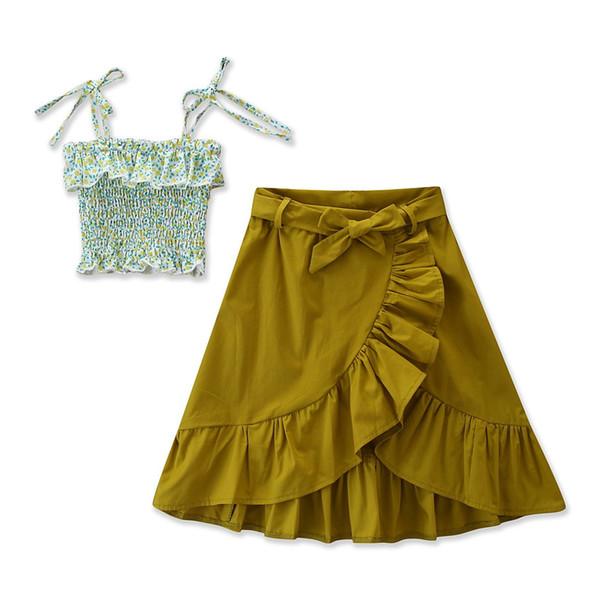 2019 Estate INS Ragazze Outfits Abbigliamento per bambini Boutique Baby Floral Tops Bretelle Camicie Gonne Ruffle 2 pz set vestiti per bambini carino