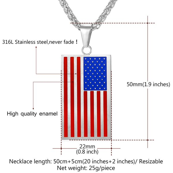 4th of July Patriotic Red White Blue American USA Flag Star Necklace Pendant a3