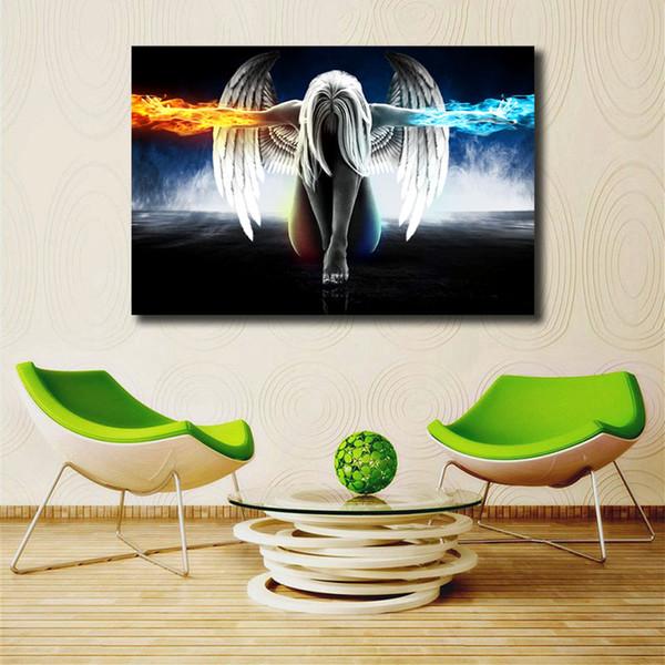 Ángel del fuego y del hielo del agua El ala hermosa de la muchacha de la lona impresiones de la imagen pinturas modulares para la sala de estar cartel en la pared decoración para el hogar