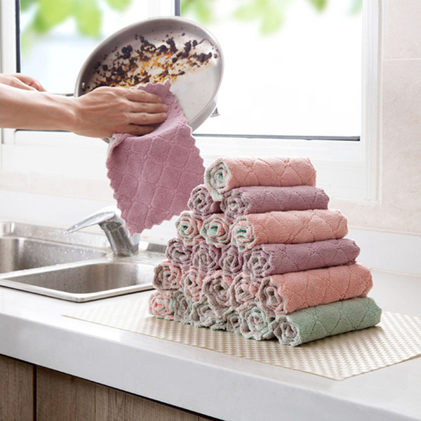 Water Absorption Anti-grease Dish Cloth Microfiber Color Washing Towel Magic Kitchen Cleaning Wiping Rags Dish Cleaning Cloths DBC DH1022