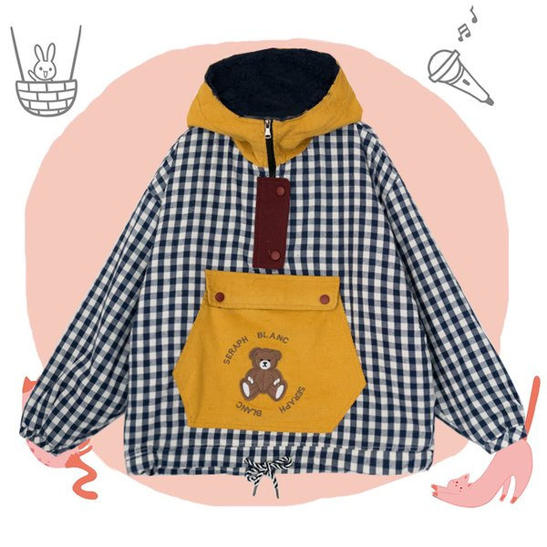 teddy bears printings winter women's cashmere hoodie plaid parkas warm hooded big pockets long sleeve coat outwear