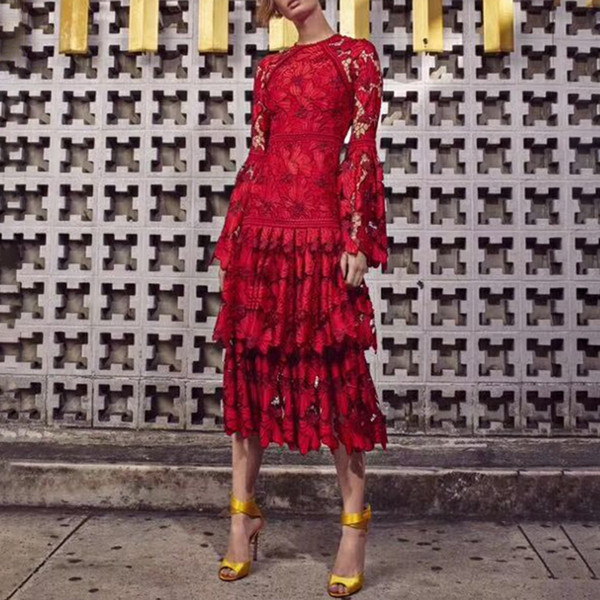Red Black Evening Vintage Party Dress Female Flare Long Sleeve High Waist Hollow Out Lace Dresses Women Elegant Fashion 2019 New Spring