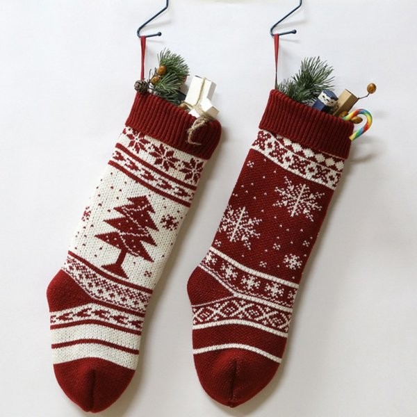 18Inch Knitted Christmas Stockings Christmas Candy Gift Bag Fireplace Decoration Decorations For Home