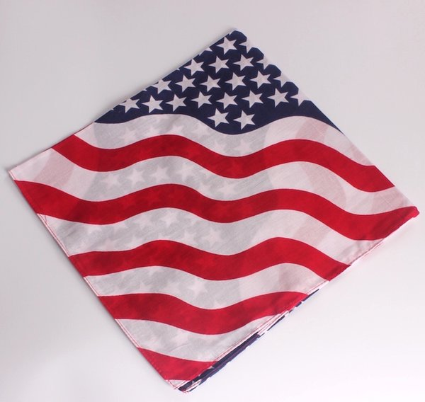 22X22 Zoll Baumwolle USA Flagge Bandanas Cowboy Bandana Party Schal Stirnband Taschentücher Hiphop Dance