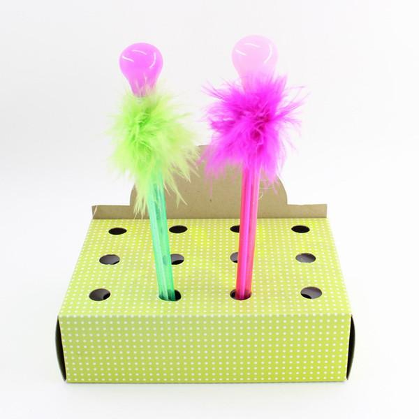 Kunststoff / Harz / Fearther Kugelschreiber Glühbirne Molding Blue Pencil Blei Mode Büro Supplie Handarbeit Fett Handschrift für Kinder