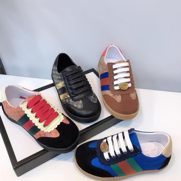 Çocuk Sneaker Tasarımcı Çocuk Ayakkabı Bahar Rahat Spor Ayakkabı Lace Up Kız Erkek Ayakkabı Moda Çocuk Ayakkabı