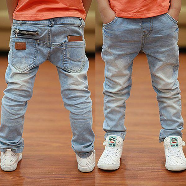 Джинсы для мальчиков Новейший стиль Светло-мягкие джинсовые брюки 2019 Весна Осень Мода Дети Жан В возрасте от 3 до 13 лет B135 Y19051504