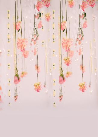 5x7FT Light Pink Flowers Branch Decors Baby Shower Custom Photo Backdrops Studio Backgrounds Vinyl 150cm x 220cm