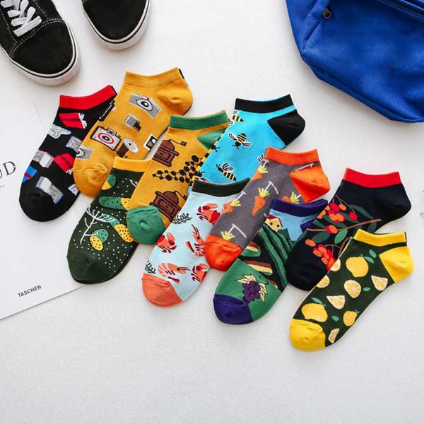 1 par Moda Rayas calcetines de los hombres Invisible de corte bajo del tobillo calcetín de verano transpirable calcetines cortos Unisex algodón mujeres Sox