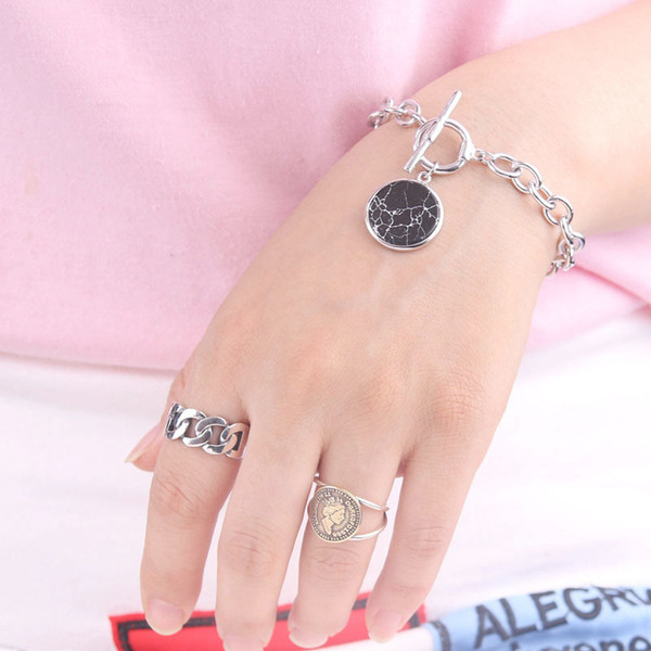 Korean fashion girl 925 simple OT buckle bracelet with pure silver marble pattern hanging tag