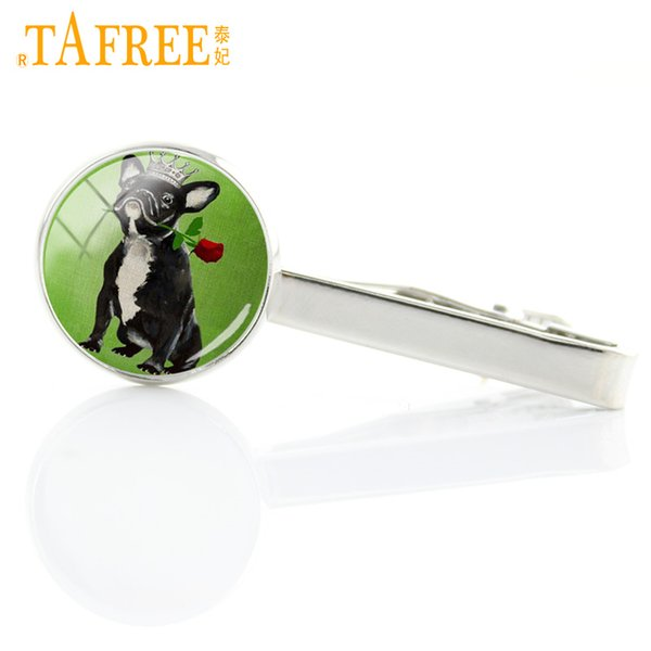 TAFREE lovely fashion dog and rose glass gem handmde tie clips for men dress accessories animal charms dog tie pin jewelry A167
