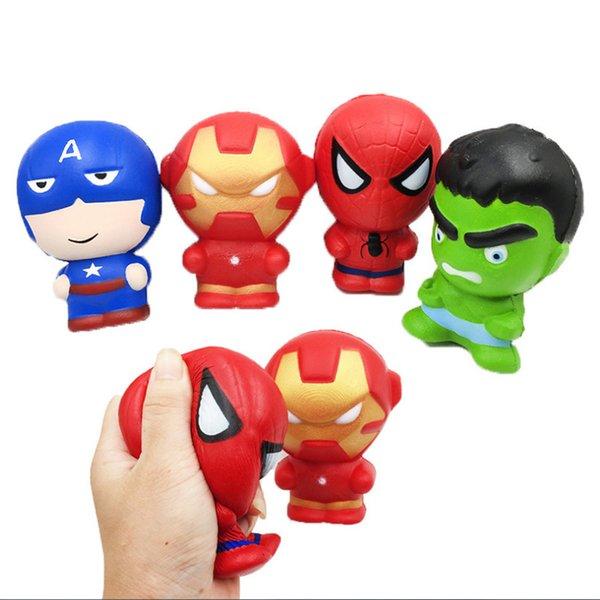 Squishy Personaje de dibujos animados Hombre de hierro Hombre araña Vengadores Marvel Heros Levantamiento lento Simulación Squishies Perfume Encantos telefónicos Correas telefónicas