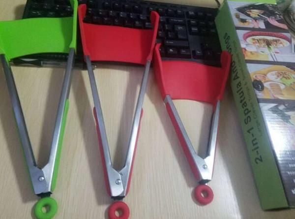 Clevere Zange 2-in-1-Küchenspatelzange Antihaftbeschichtete, hitzebeständige, spülmaschinenfeste Küchenhelferzange Werkzeuge 2er-Pack Rot-Grün