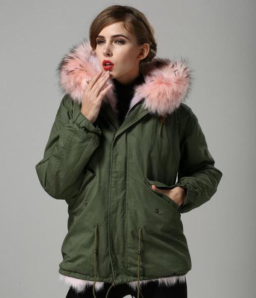 Hot sale Classic pink raccoon fur trim pink fox fur lining army green canvas mini parkas with ykk zipper