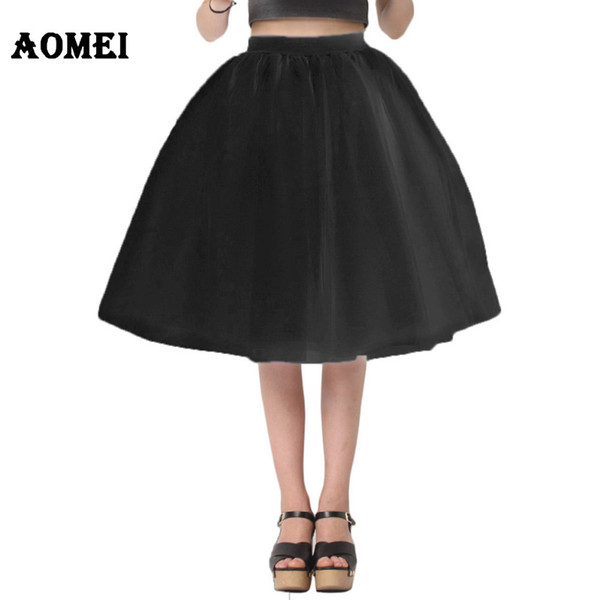 Women White Princess Tulle Skirt Knee Length Junior Girls Lolita Cute Plus Size Grunge Jupe Female A Line Tutu Skirts New Puff
