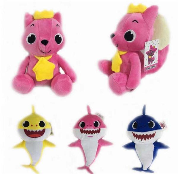 Tiburón bebé muñecos de peluche de peluche 2018 Nuevos tiburones de dibujos animados Figura de acción Juguetes Fiesta de Navidad para niños Los mejores regalos 4 estilo 26 cm ~ 32 cm B11