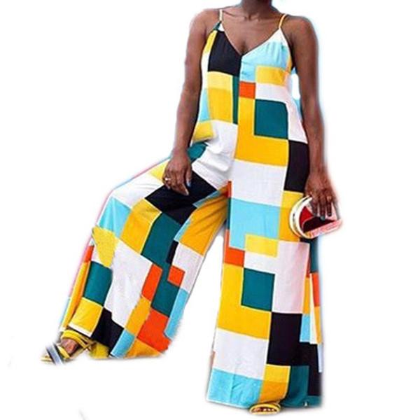 Combinaison asymétrique multicolore rayé à carreaux en vrac surdimensionné lâche jambe large Boho Beach Club sangle v-cou combinaison salopette barboteuse
