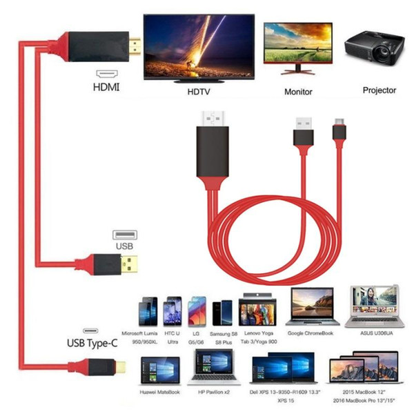 4K 1080P 3 In 1 HDTV MHL HDMI Cable For iPhone iPad Samsung To Projector TV 2M HDMI TO Type-C HDTV Adapter Cable