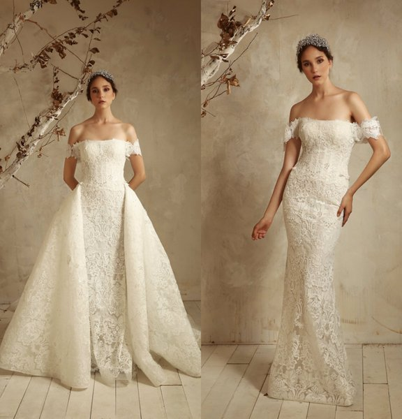 Tony Ward Mermaid abiti da sposa con gonna staccabile pizzo Appliqued Sweep treno off spalla paese abito da sposa plus size abiti da sposa