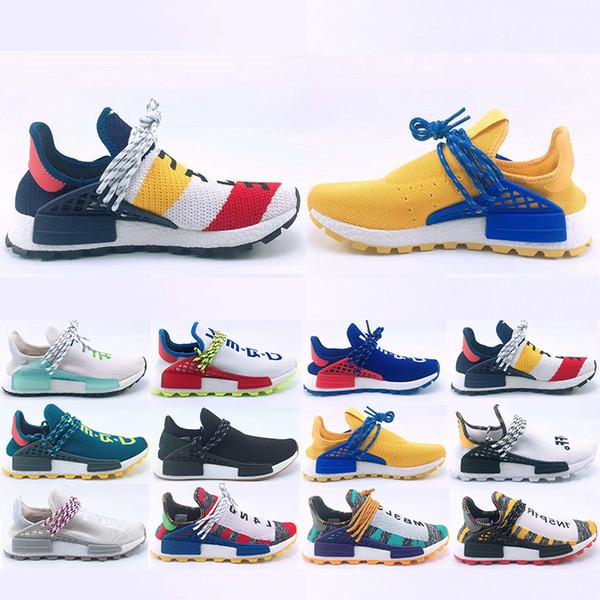 2019 New Human Race Hu trail Running shoes Men Women Pharrell Williams Yellow noble ink core Black Designer Sports Trainers Sneaker 36-47