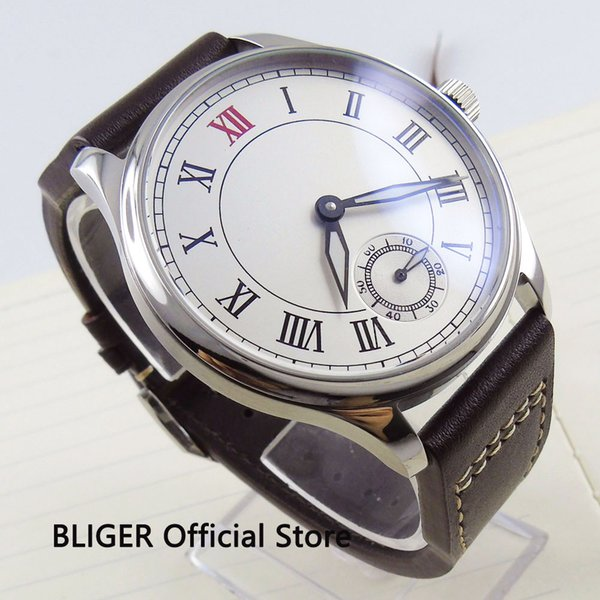 Classic 44MM White Big Sterile Dial Roman Numerals 17 Jewel 6498 Hand Winding Movement Leather Strap pilot Wrist Watches For Men