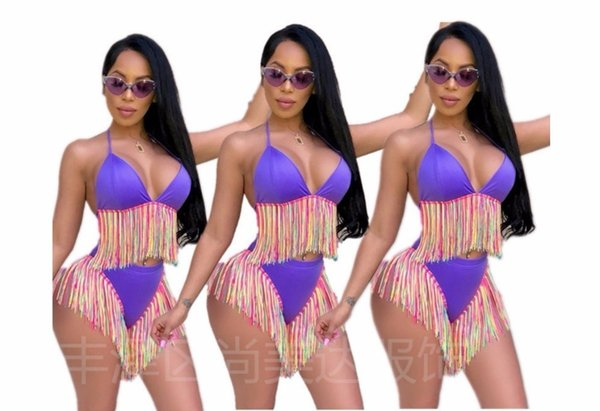 D636 Europe and America hot sexy women's 2019 fashion explosion models colorful tassel bikini two-piece swimsuit